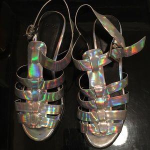 Hologram strappy sandal heels